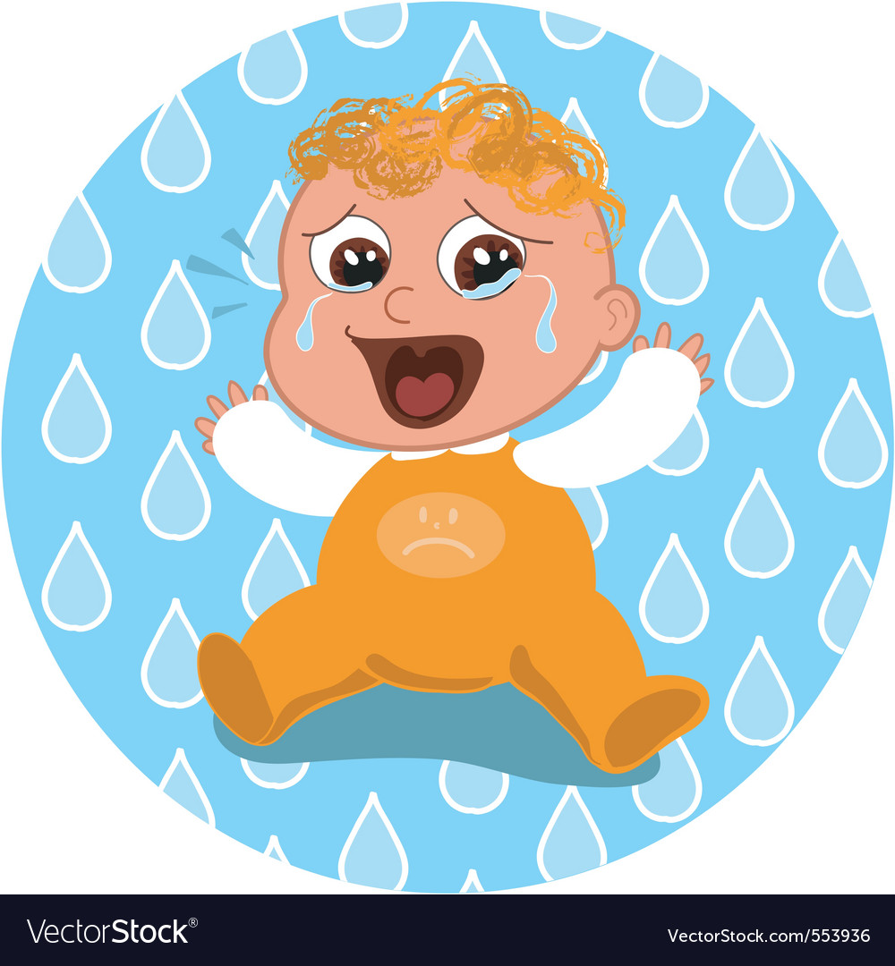 Sad crying baby vector | Price: 1 Credit (USD $1)