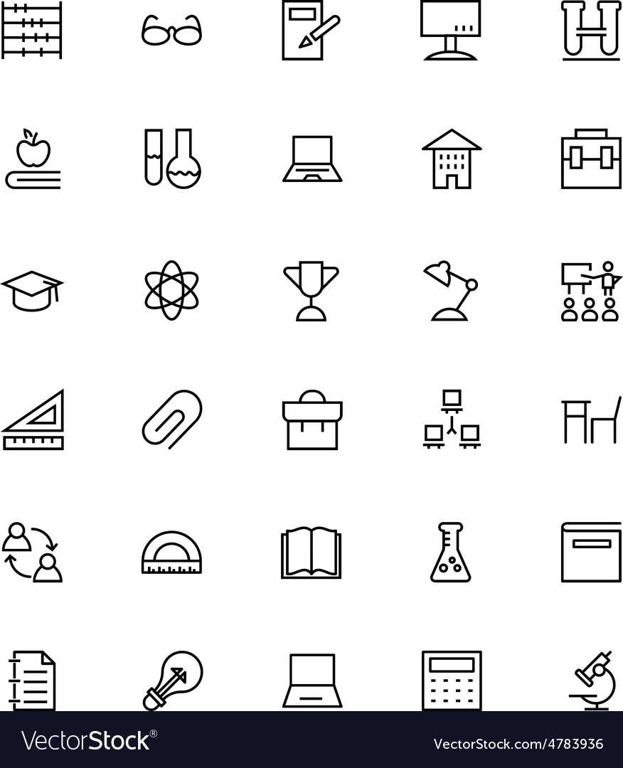 School and education line icons 5 vector