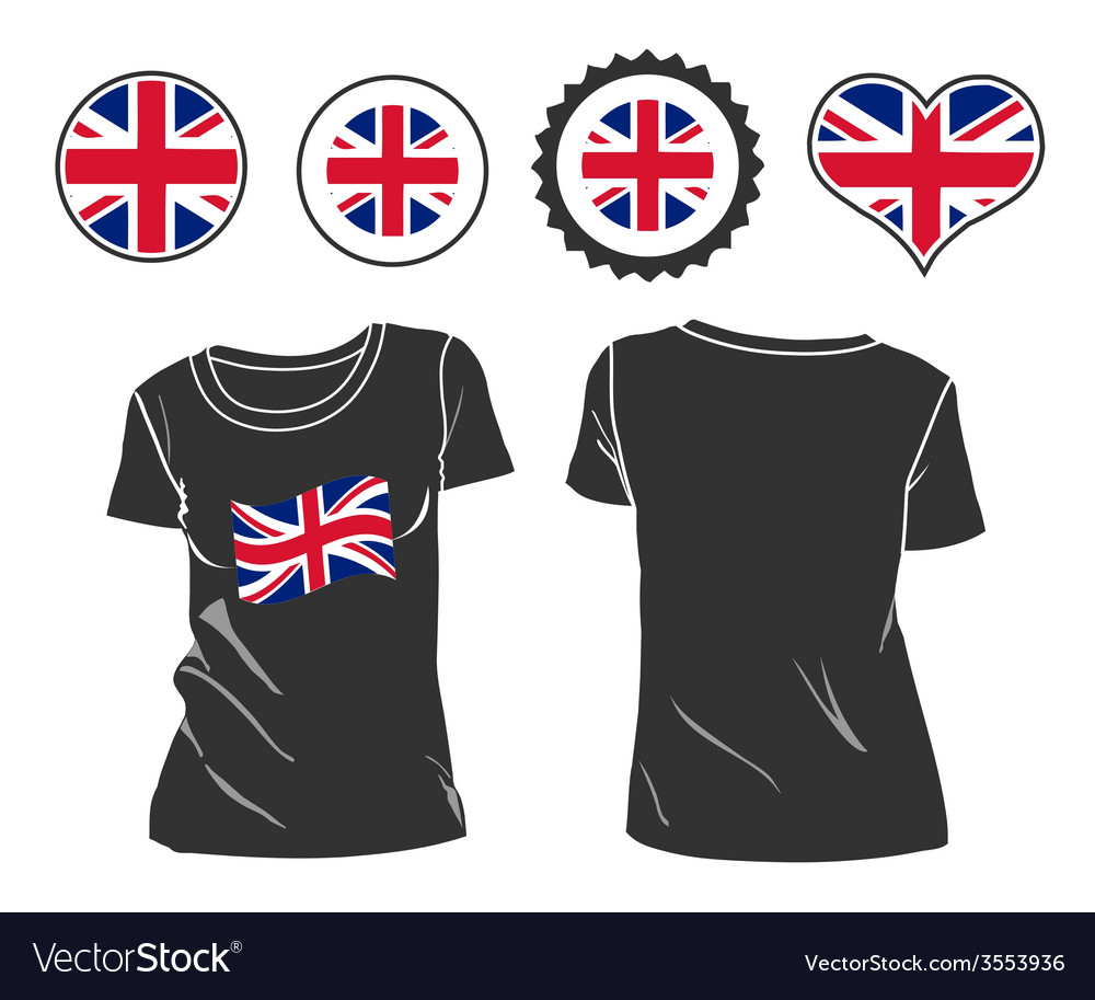 Tshirt with the flag of great britain vector