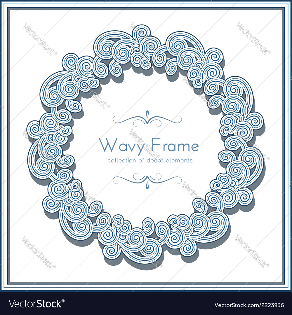 Wavy circle frame vector | Price: 1 Credit (USD $1)
