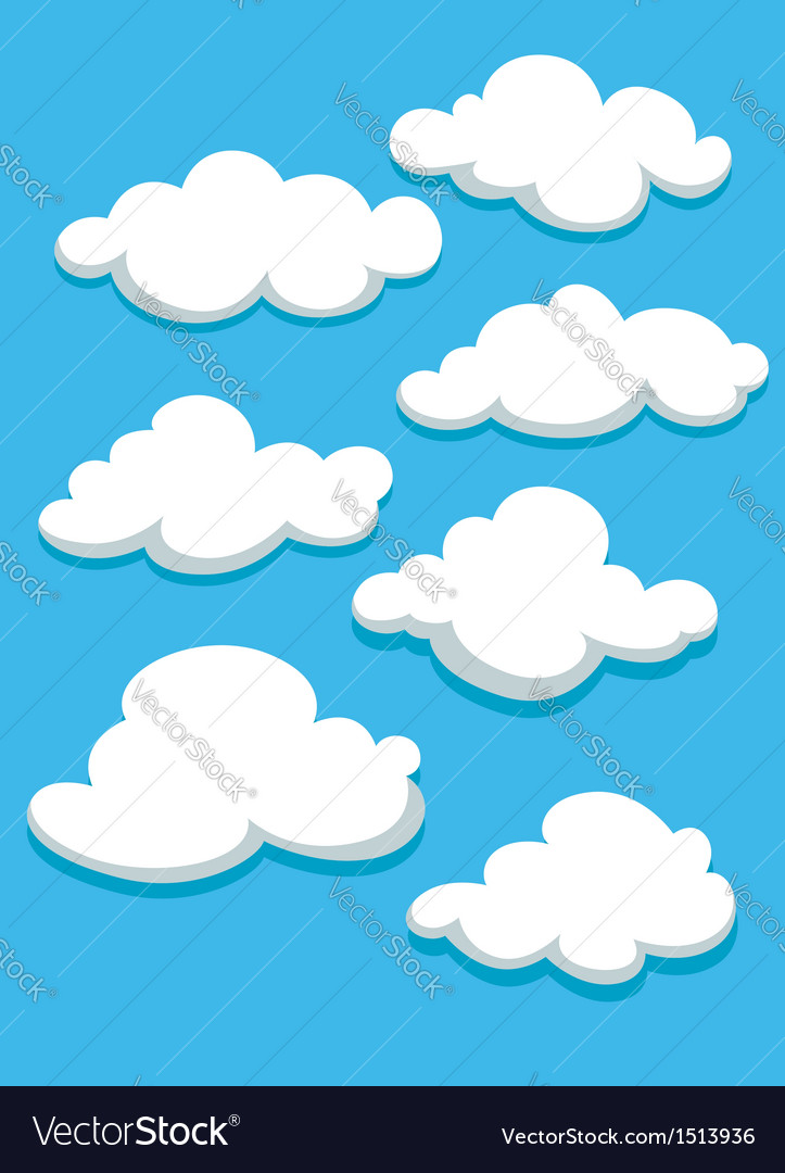 White clouds set on blue sky vector | Price: 1 Credit (USD $1)