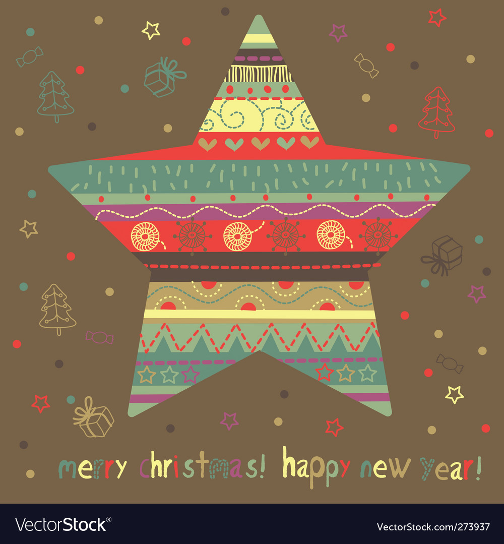 Christmas card with star vector | Price: 1 Credit (USD $1)