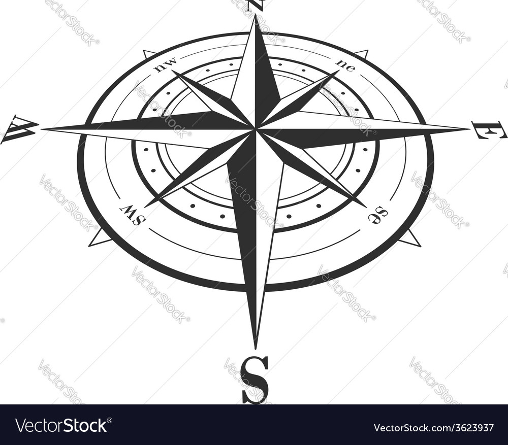 Compass rose isolated on white vector | Price: 1 Credit (USD $1)