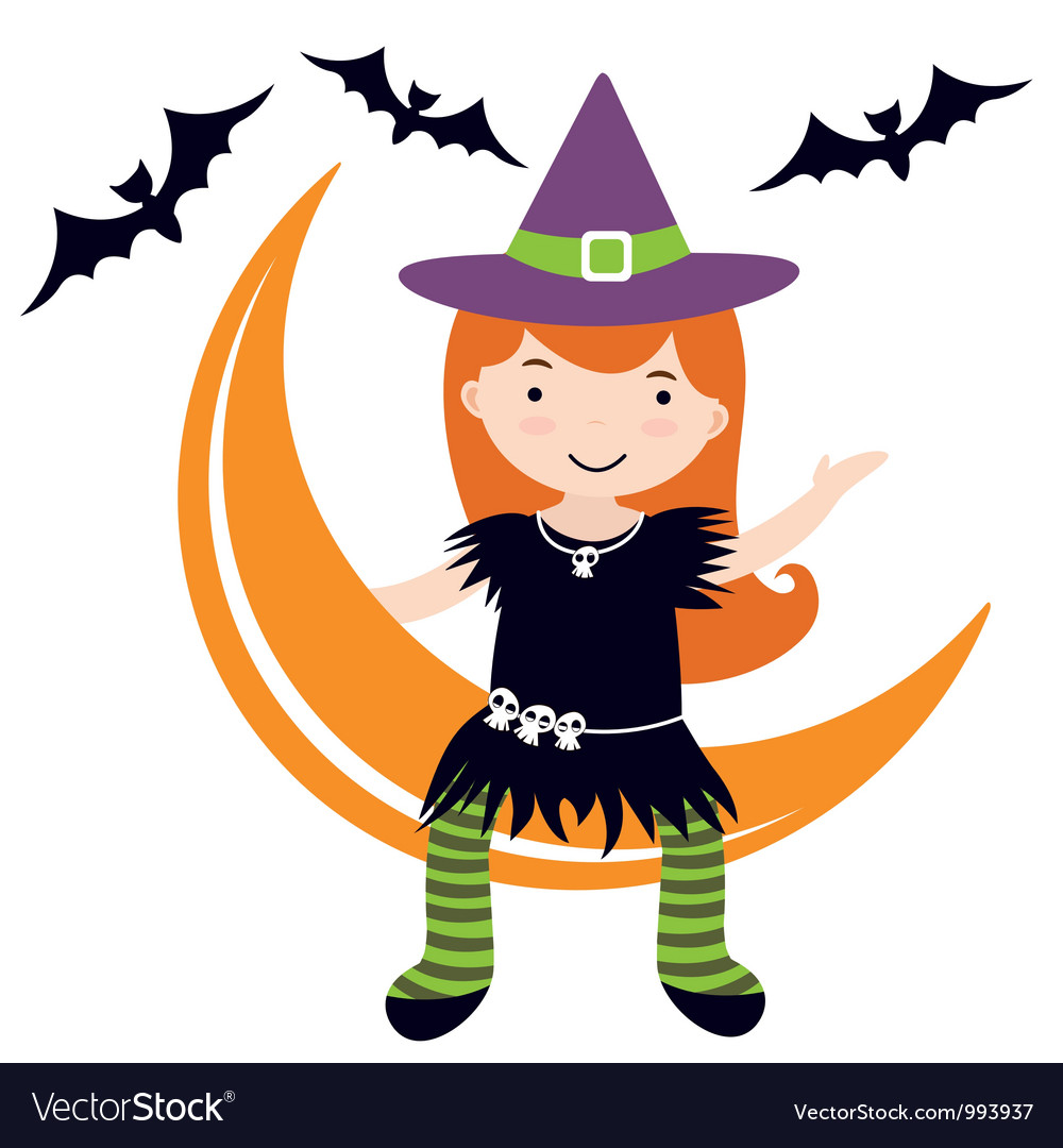 Cute witch sitting on moon vector | Price: 3 Credit (USD $3)