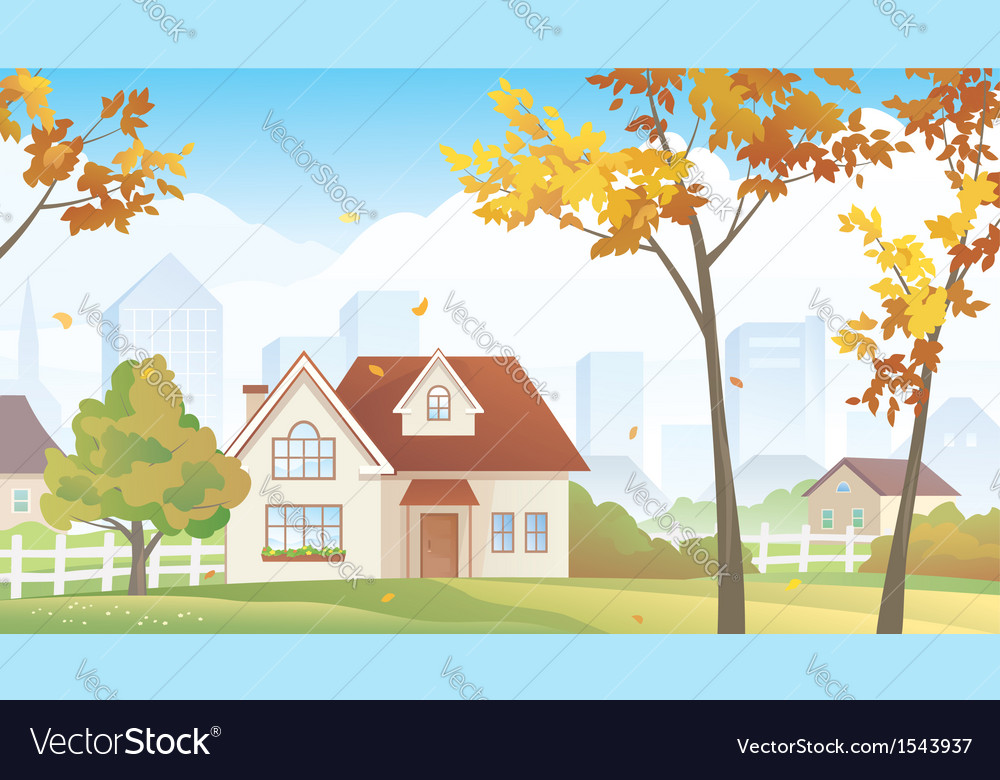 Fall suburb vector | Price: 1 Credit (USD $1)