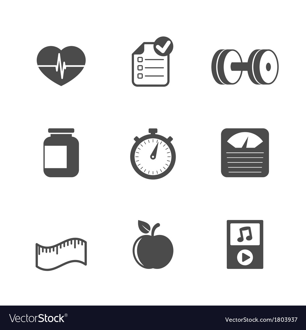 Fitness icons set contrast flat vector | Price: 1 Credit (USD $1)