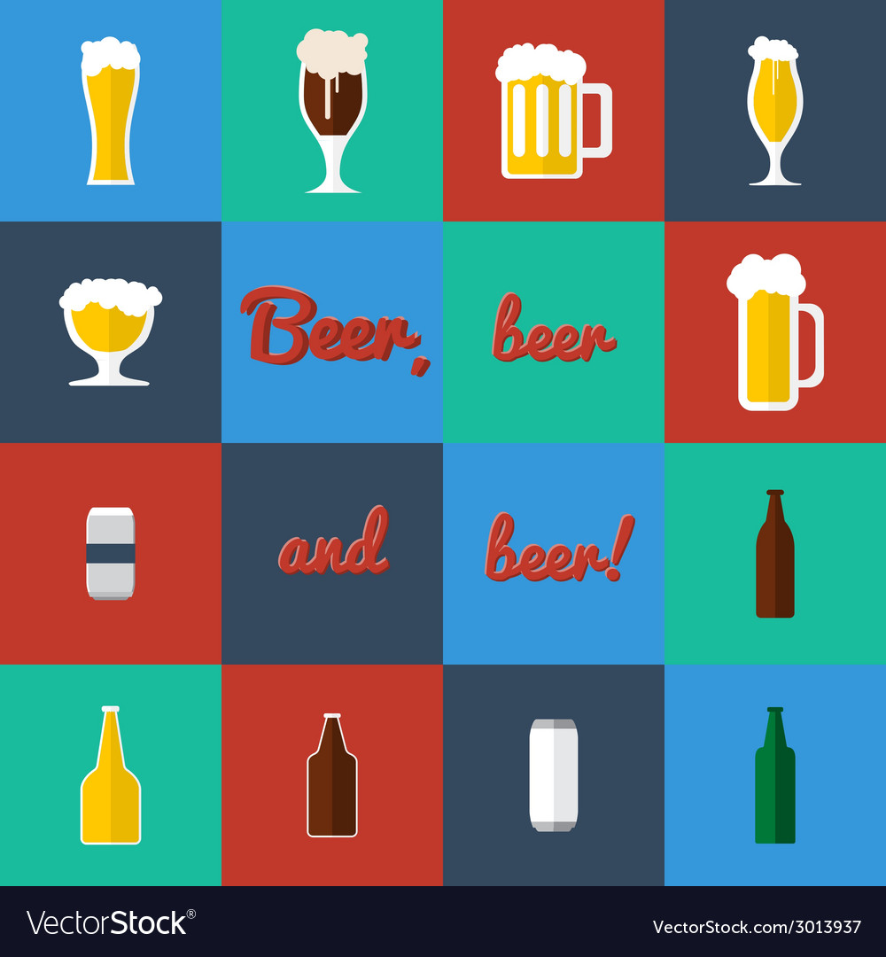 Flat set of beer glass and bottles icons vector | Price: 1 Credit (USD $1)