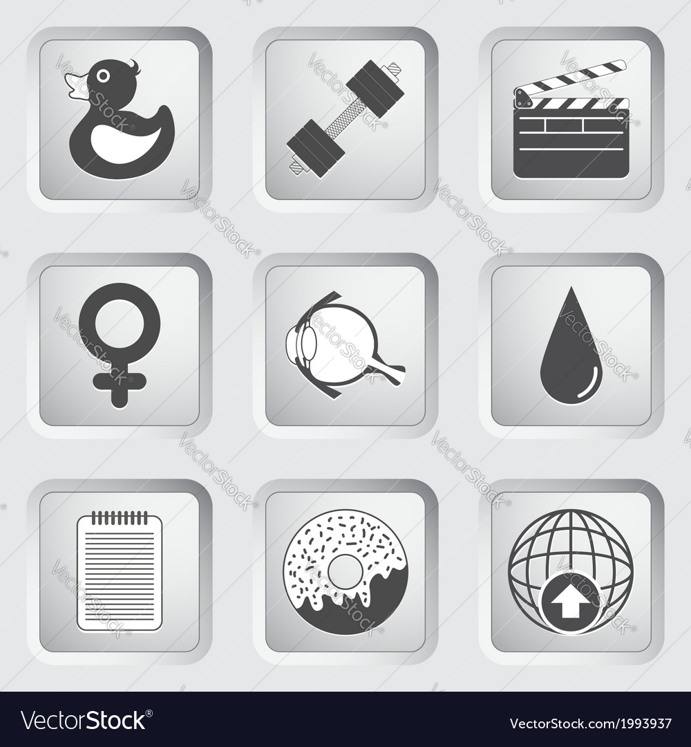 Icons on the buttons for web design set 6 vector | Price: 1 Credit (USD $1)