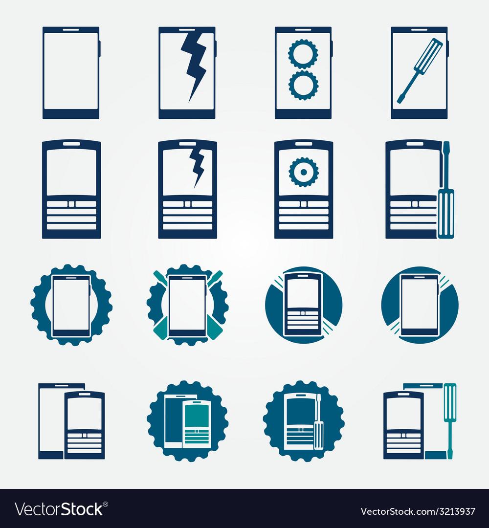 Mobile phone repair icons set vector | Price: 1 Credit (USD $1)