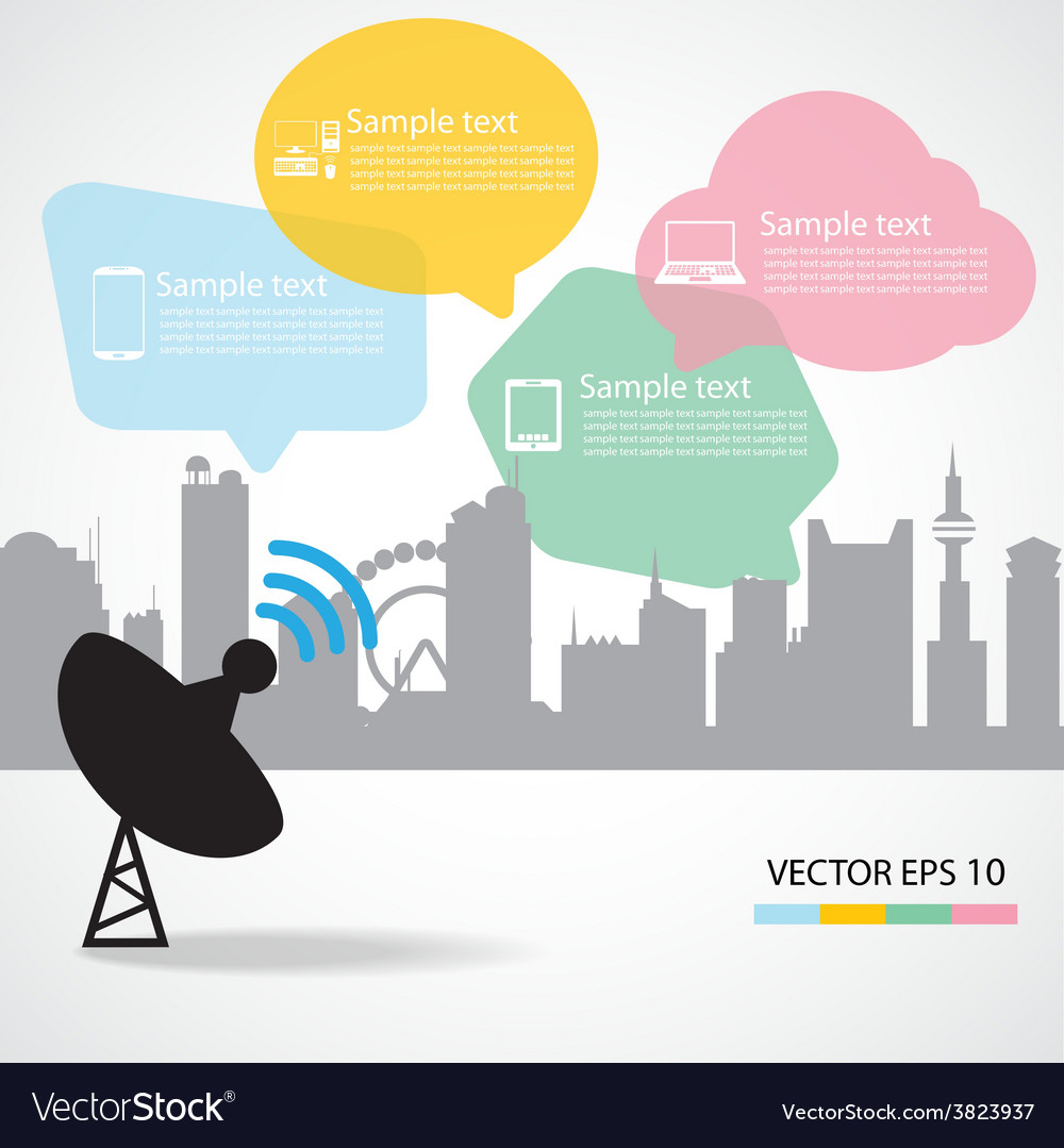 Satellite dish and city background vector | Price: 1 Credit (USD $1)