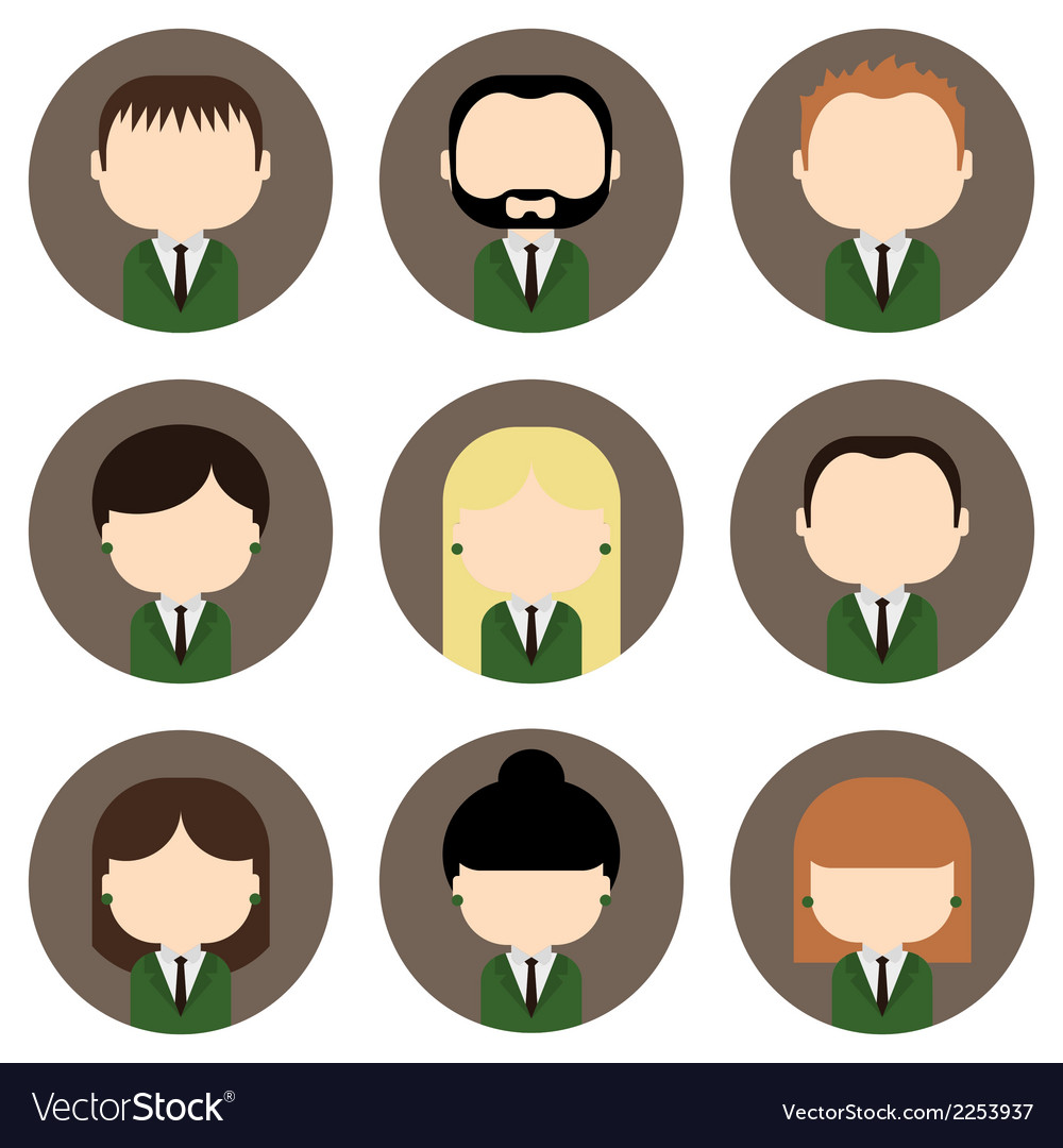 Set of colorful office people icons vector | Price: 1 Credit (USD $1)