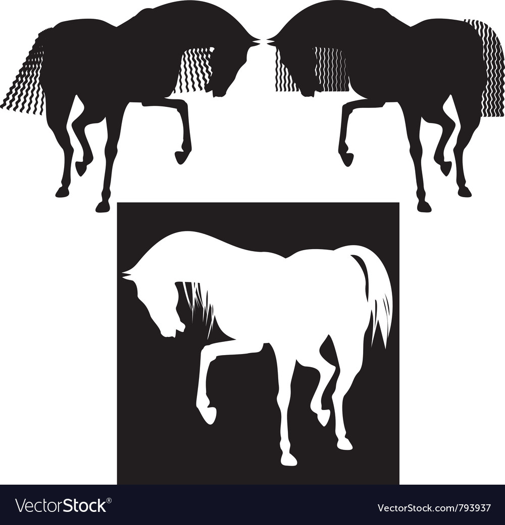 Silhouette horses vector | Price: 1 Credit (USD $1)