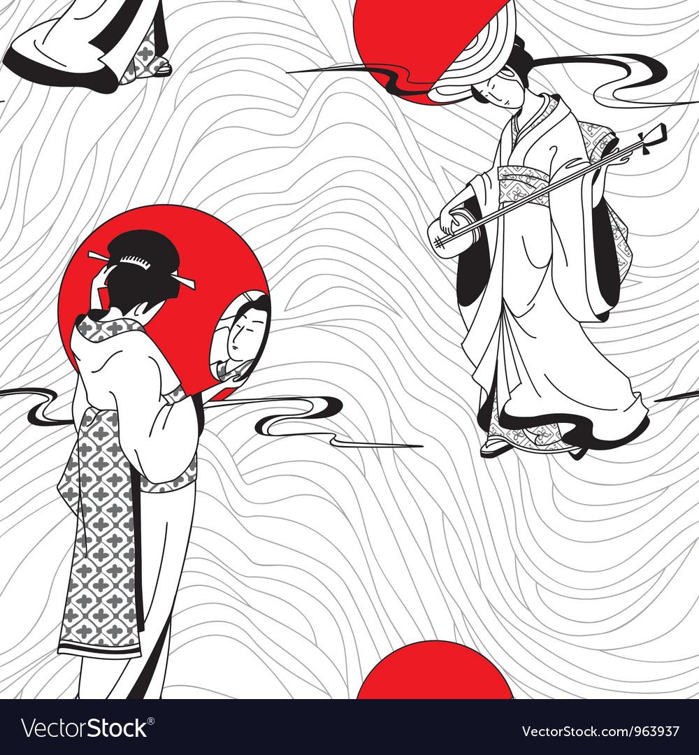 Traditional japanese geisha seamless pattern vector | Price: 1 Credit (USD $1)