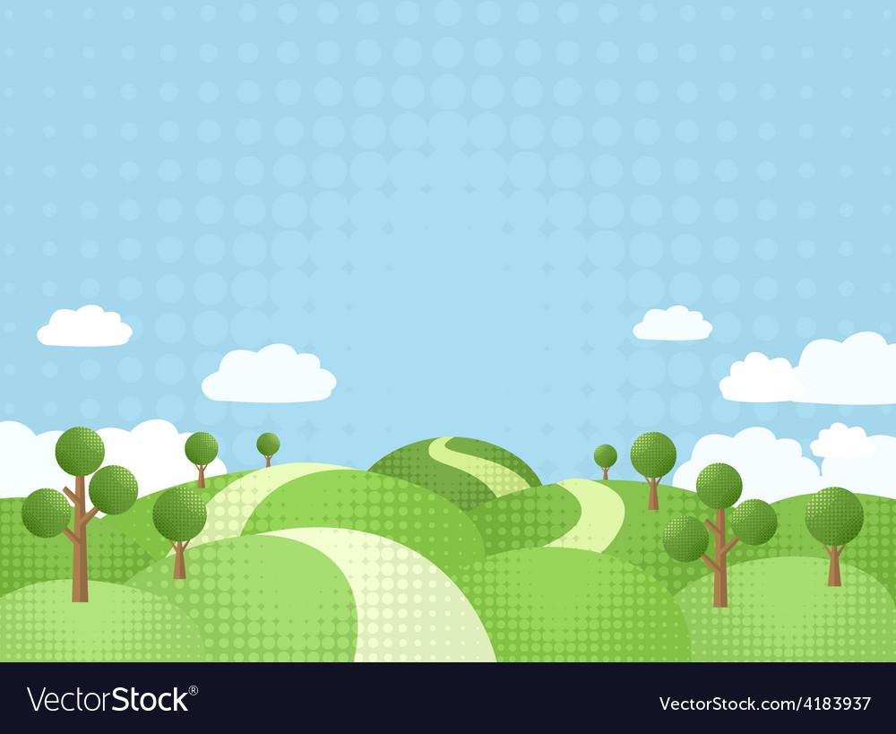 The way between rolling hills vector | Price: 1 Credit (USD $1)