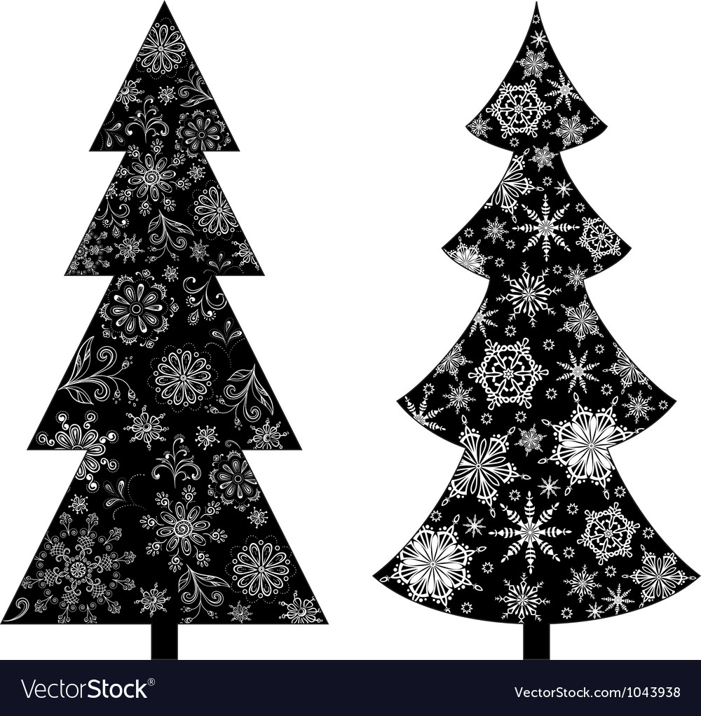 Christmas trees silhouette vector | Price: 1 Credit (USD $1)