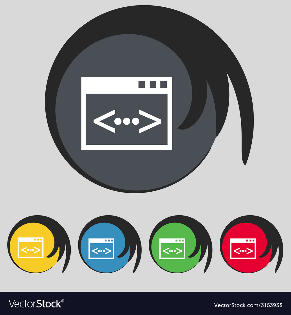 Code sign icon programmer symbol set of colored vector | Price: 1 Credit (USD $1)