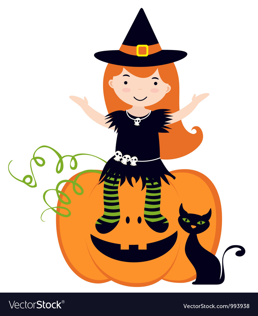 Cute witch sitting on pumpkin vector | Price: 3 Credit (USD $3)