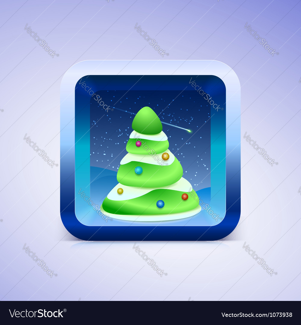 Green festive fir icon ios style vector | Price: 1 Credit (USD $1)