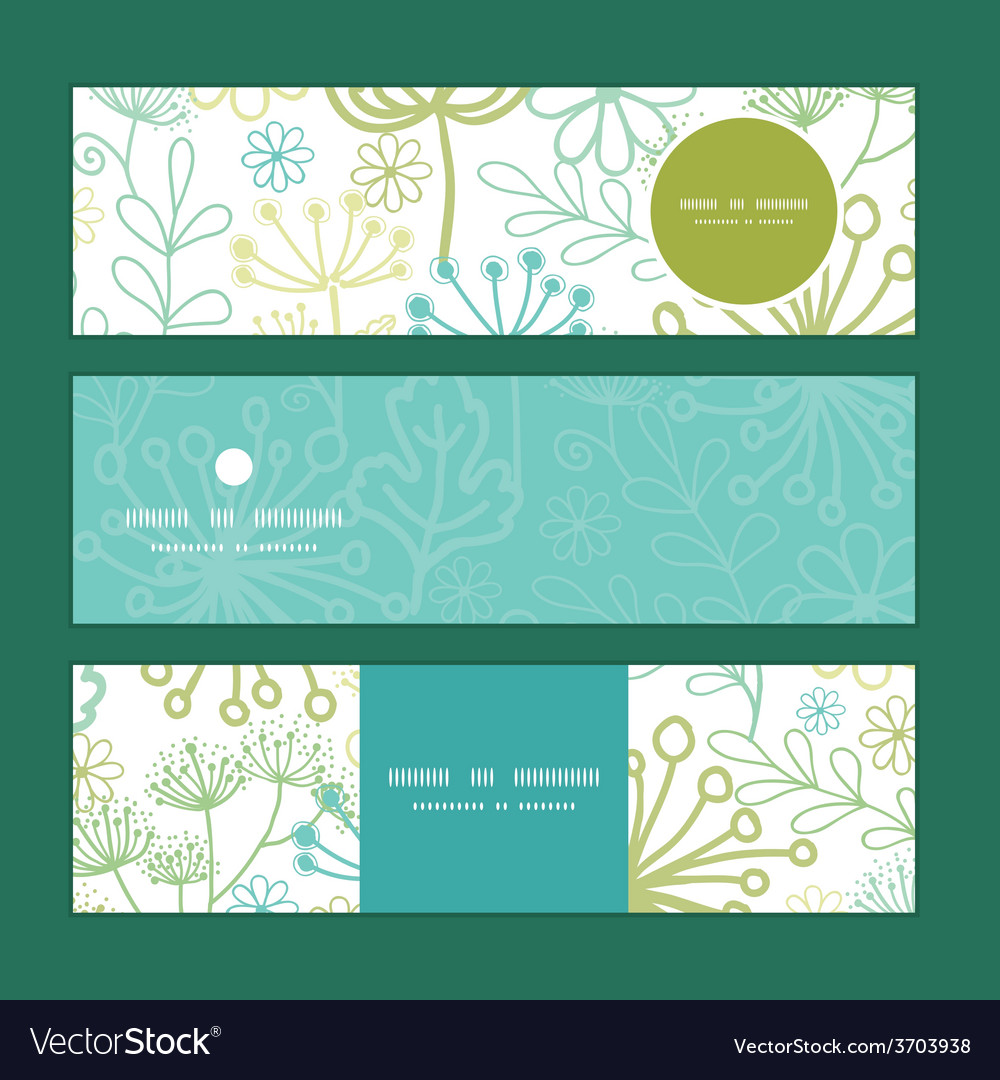 Mysterious green garden horizontal banners vector | Price: 1 Credit (USD $1)