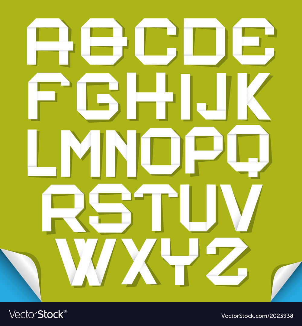 Paper cut alphabet isolated on green background vector | Price: 1 Credit (USD $1)
