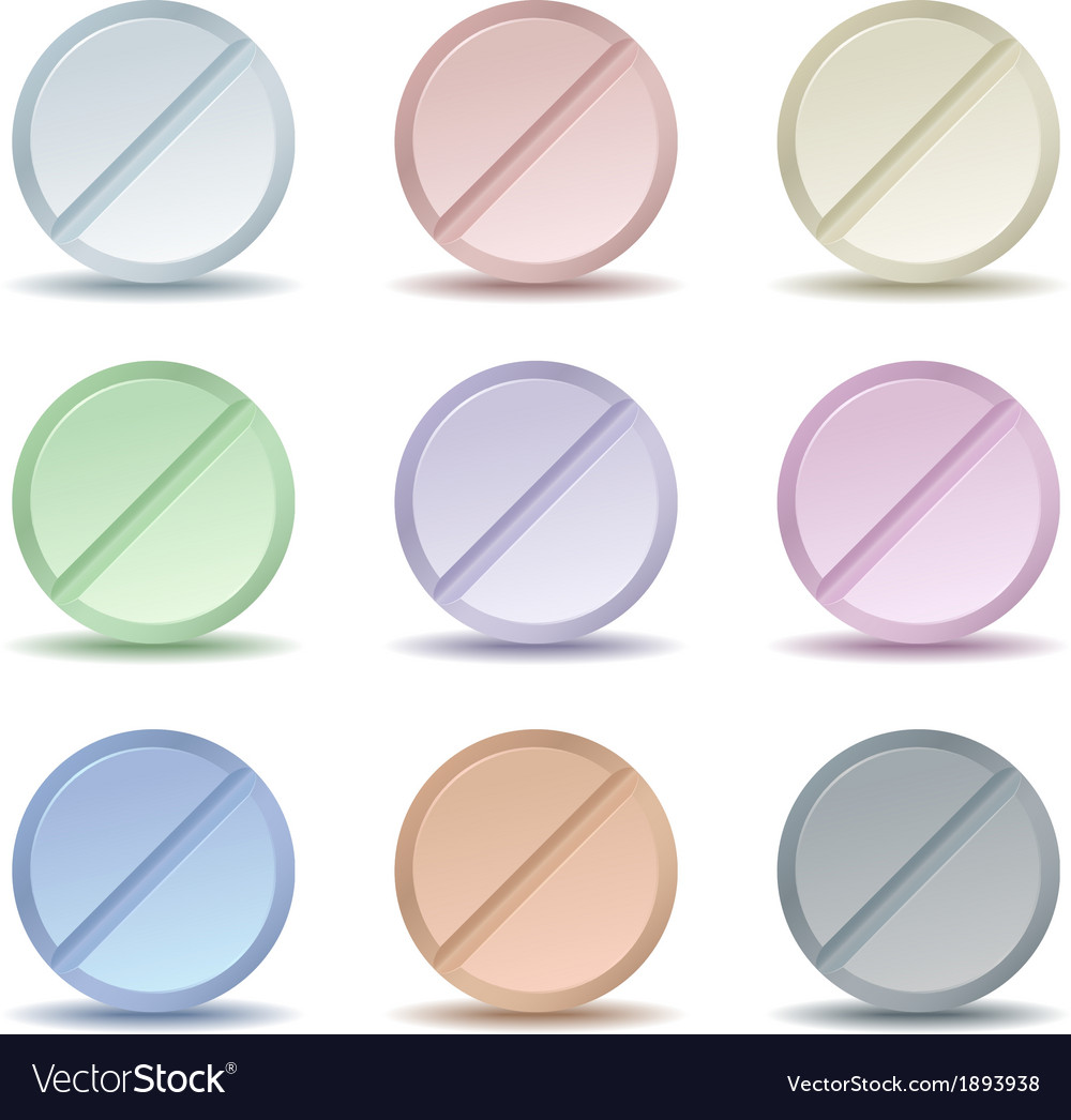 Set of color pill icons vector | Price: 1 Credit (USD $1)