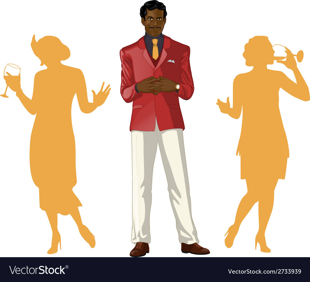 Afroamerican male party host with female guests vector | Price: 1 Credit (USD $1)