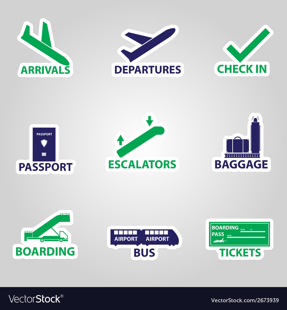 Airport signs stickers eps10 vector | Price: 1 Credit (USD $1)