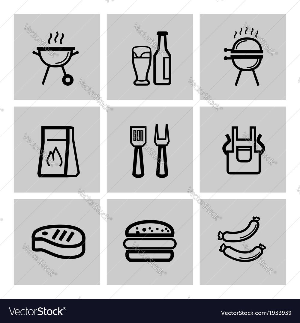 Black barbecue icons set vector | Price: 1 Credit (USD $1)