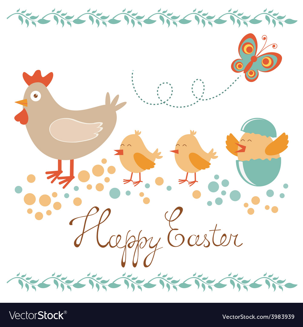 Cute easter card with chicken and chicks vector | Price: 1 Credit (USD $1)