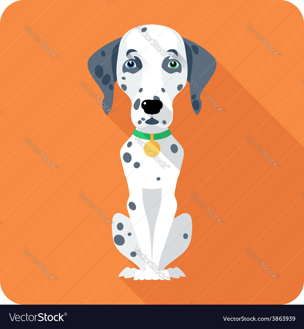 Dog dalmatian icon flat design vector | Price: 1 Credit (USD $1)