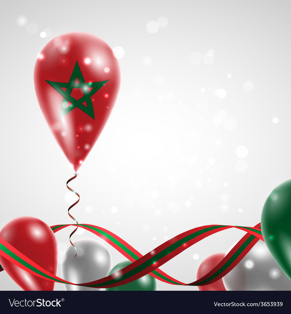 Flag of morocco on balloon vector | Price: 1 Credit (USD $1)