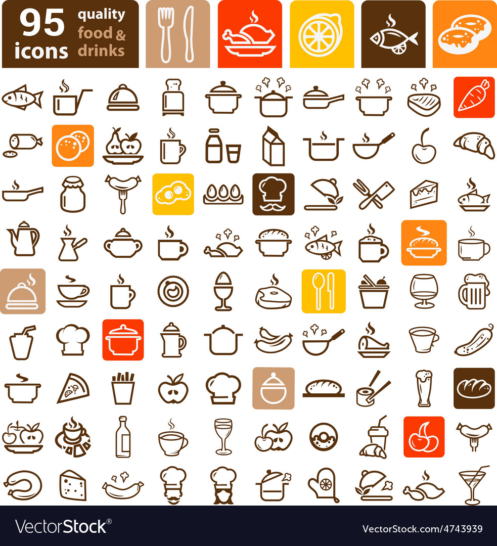 Food icons big set vector | Price: 1 Credit (USD $1)