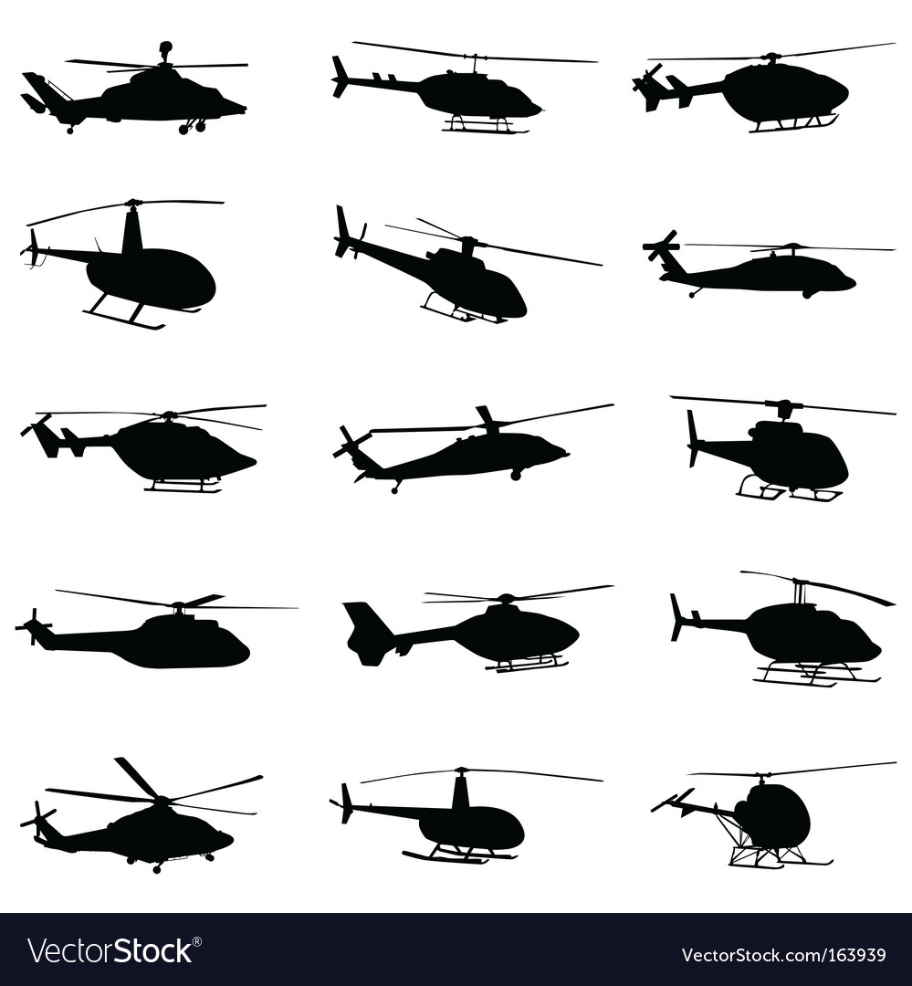Helicopter set vector | Price: 1 Credit (USD $1)