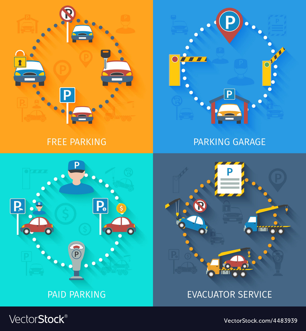 Parking service set vector | Price: 1 Credit (USD $1)