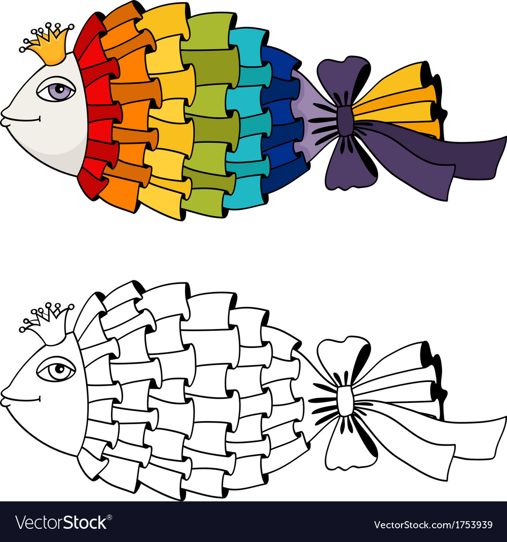 Rainbow fish coloring vector | Price: 1 Credit (USD $1)