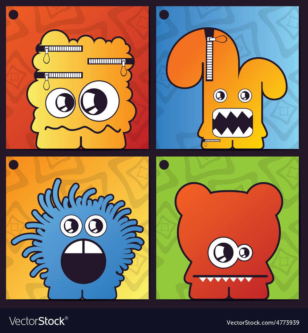 Set of four monster on abstract background vector | Price: 1 Credit (USD $1)