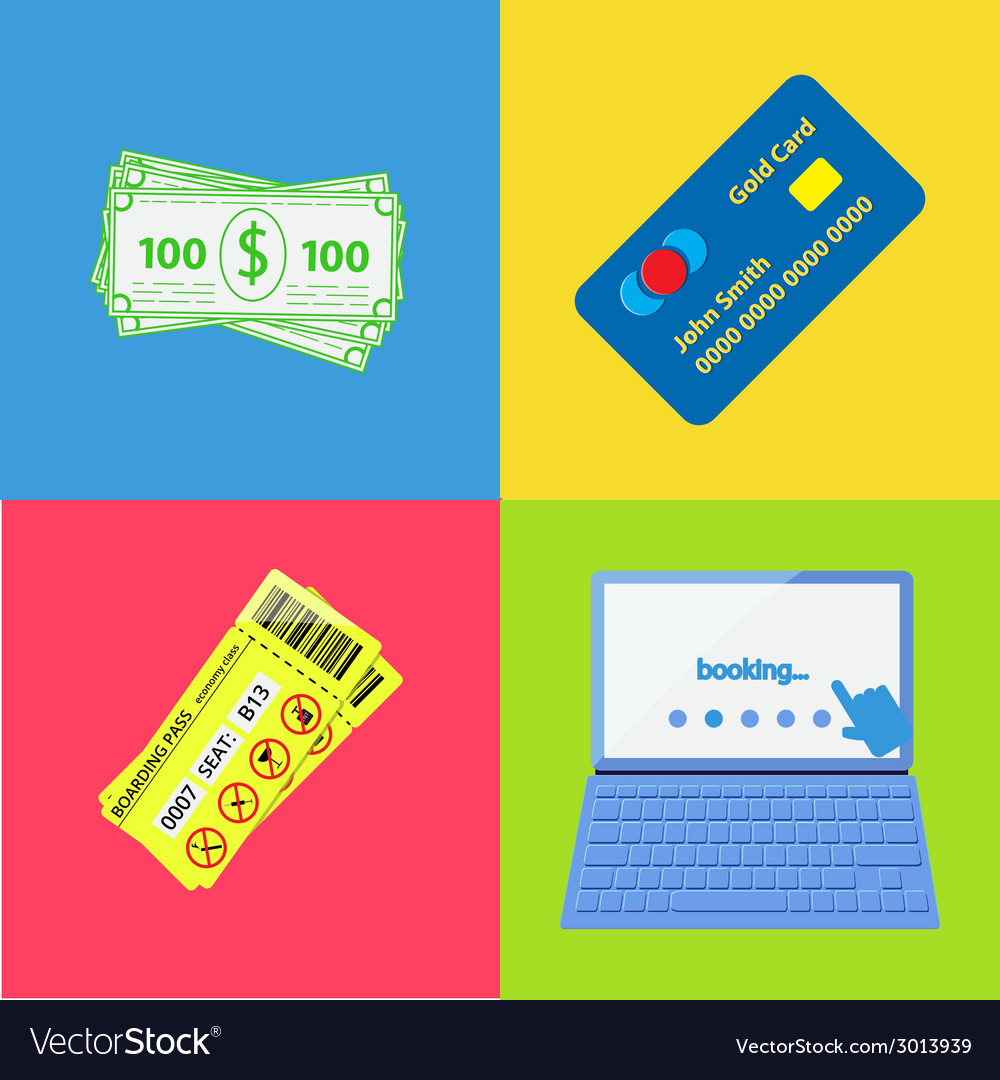 Set of four tourism icons vector   Price: 1 Credit (USD $1)