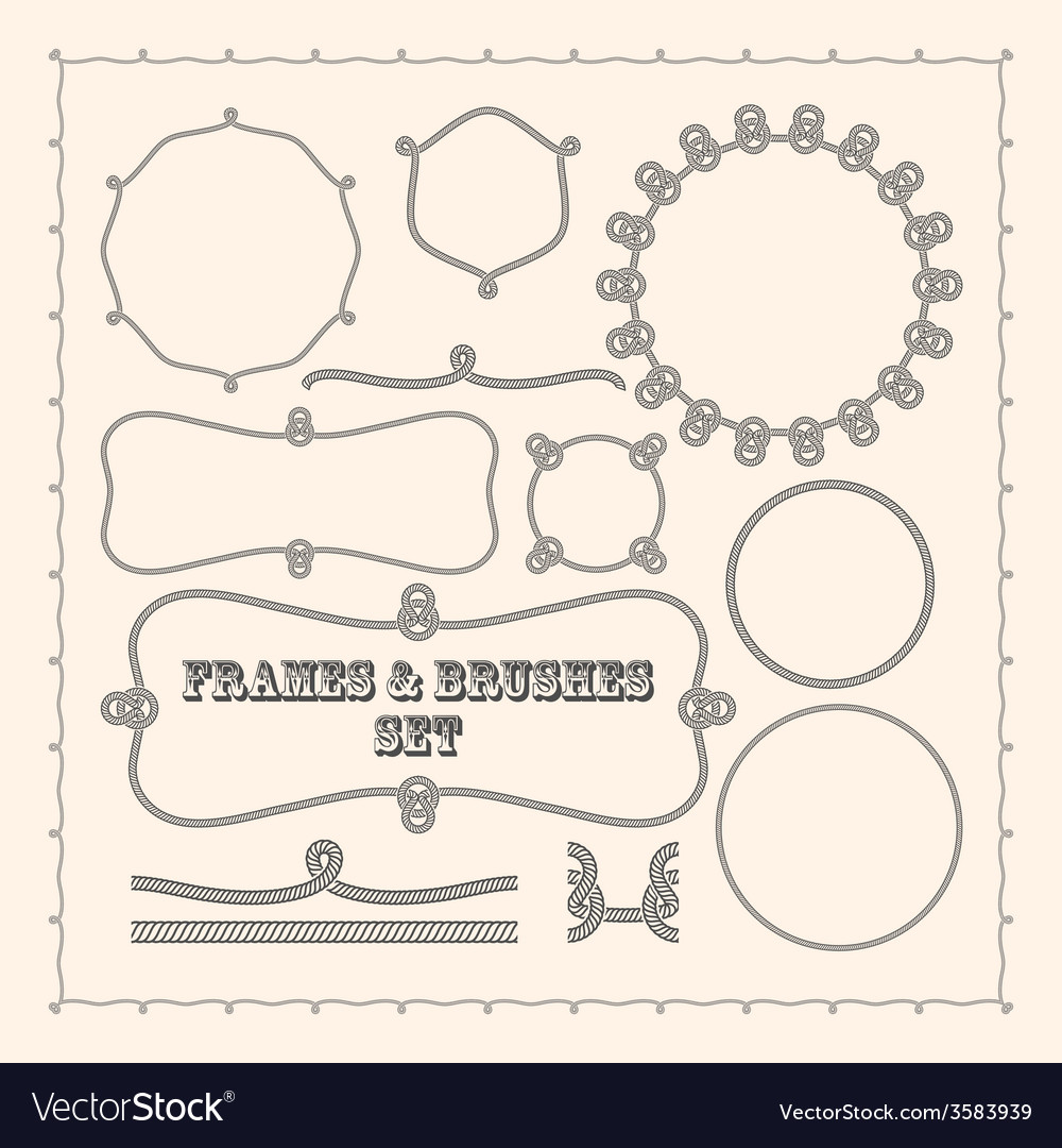 Set of frame templates and rope brushes design vector   Price: 1 Credit (USD $1)