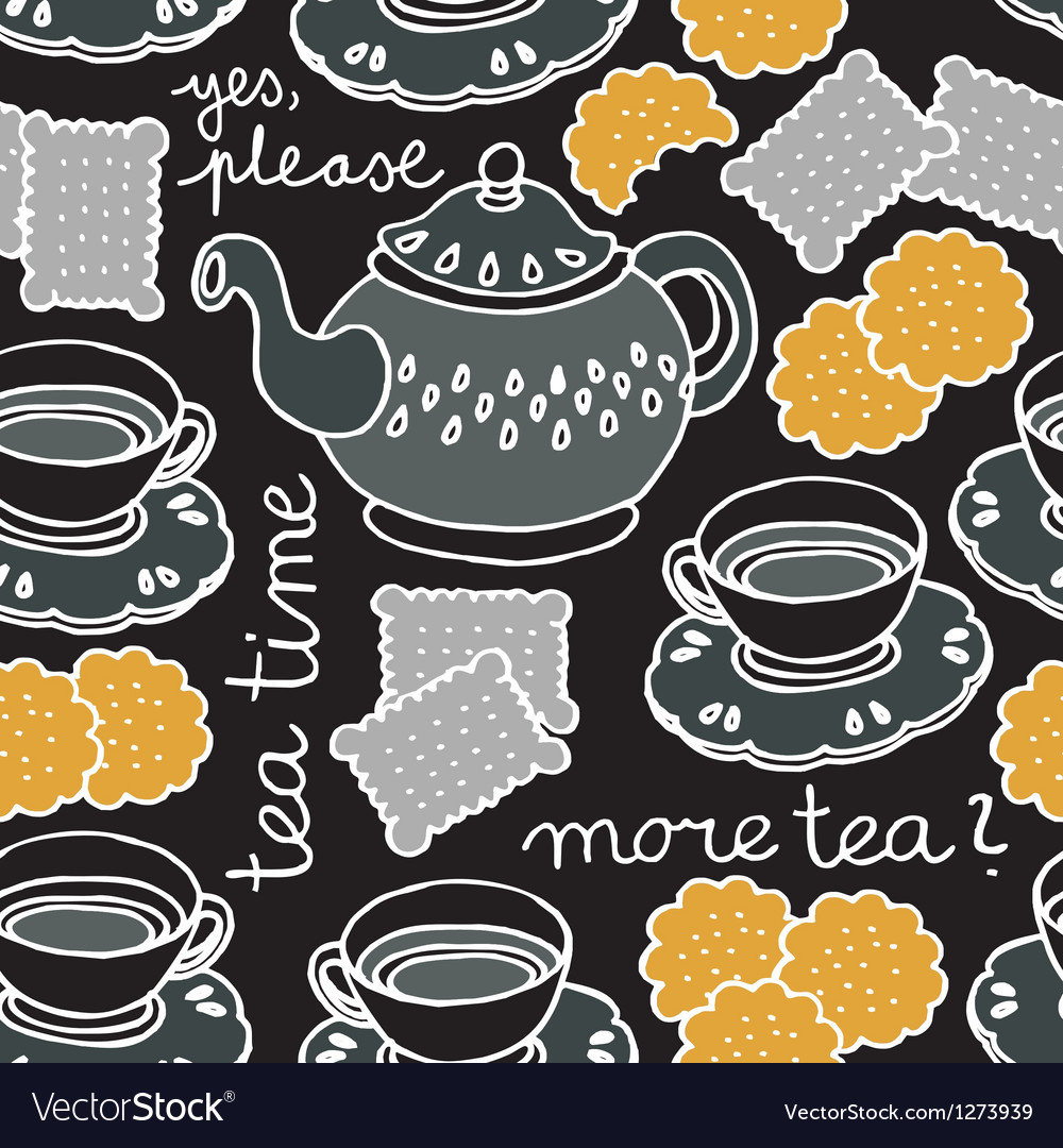 Tea and biscuit wallpaper vector | Price: 1 Credit (USD $1)