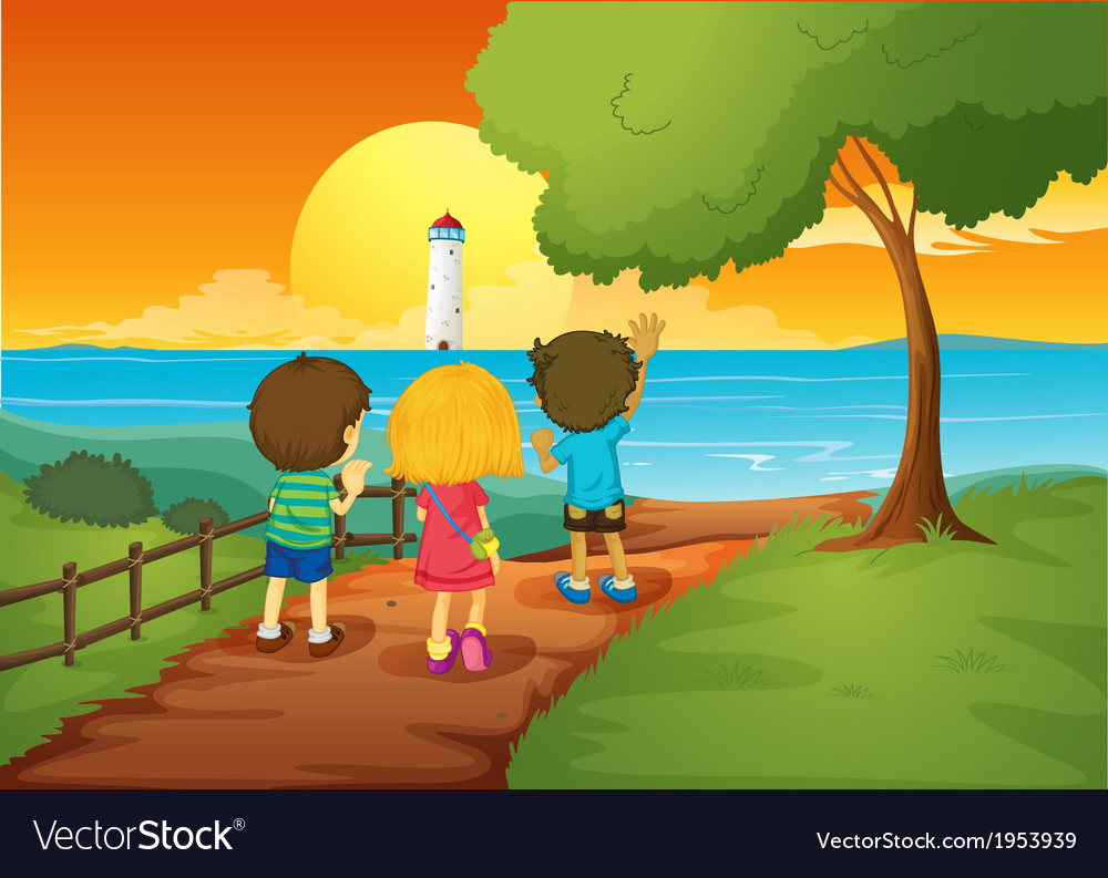 Three kids watching the lighthouse vector | Price: 3 Credit (USD $3)