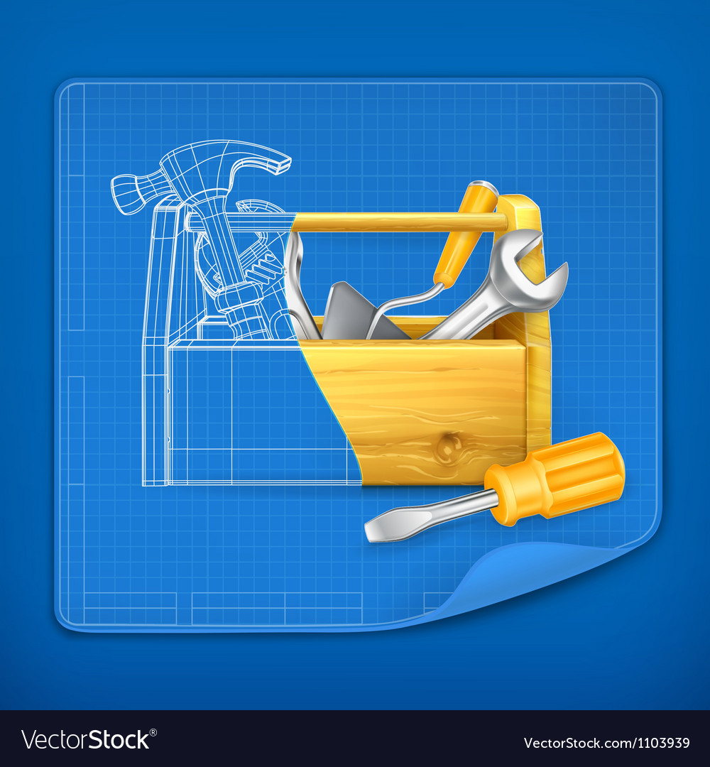 Tool box blue print vector | Price: 3 Credit (USD $3)