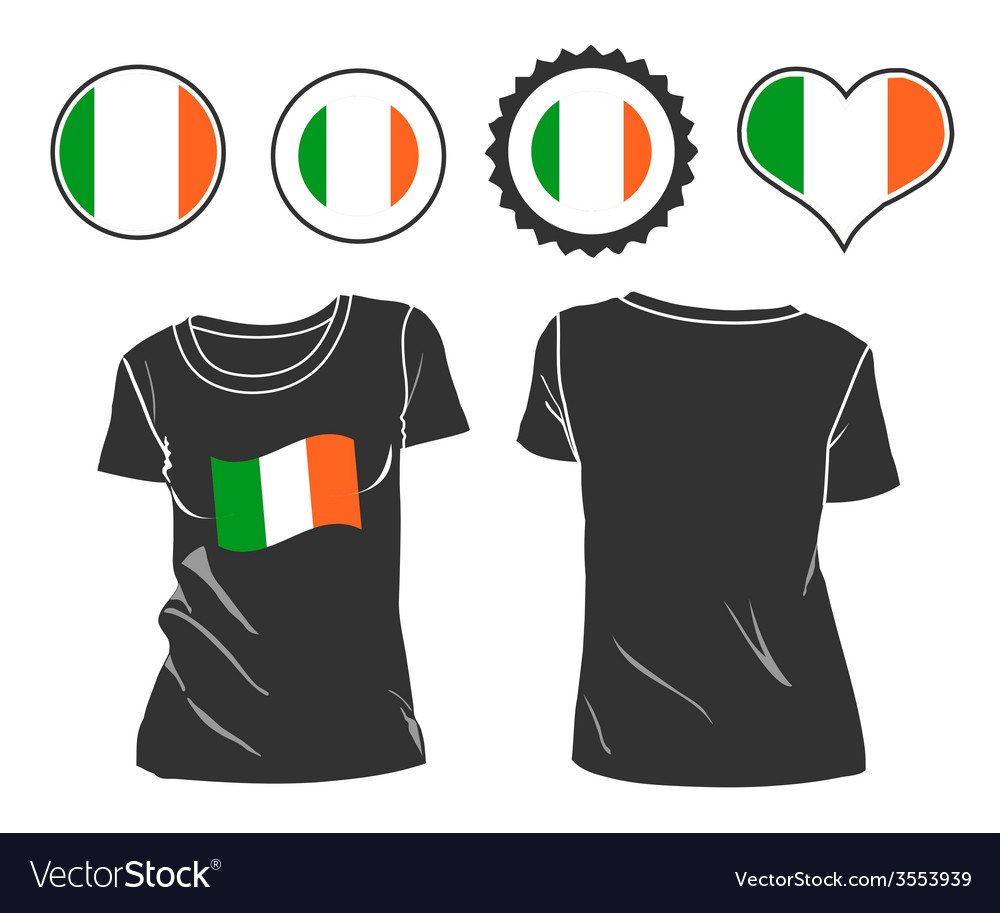 T-shirt with the flag of ireland vector | Price: 1 Credit (USD $1)