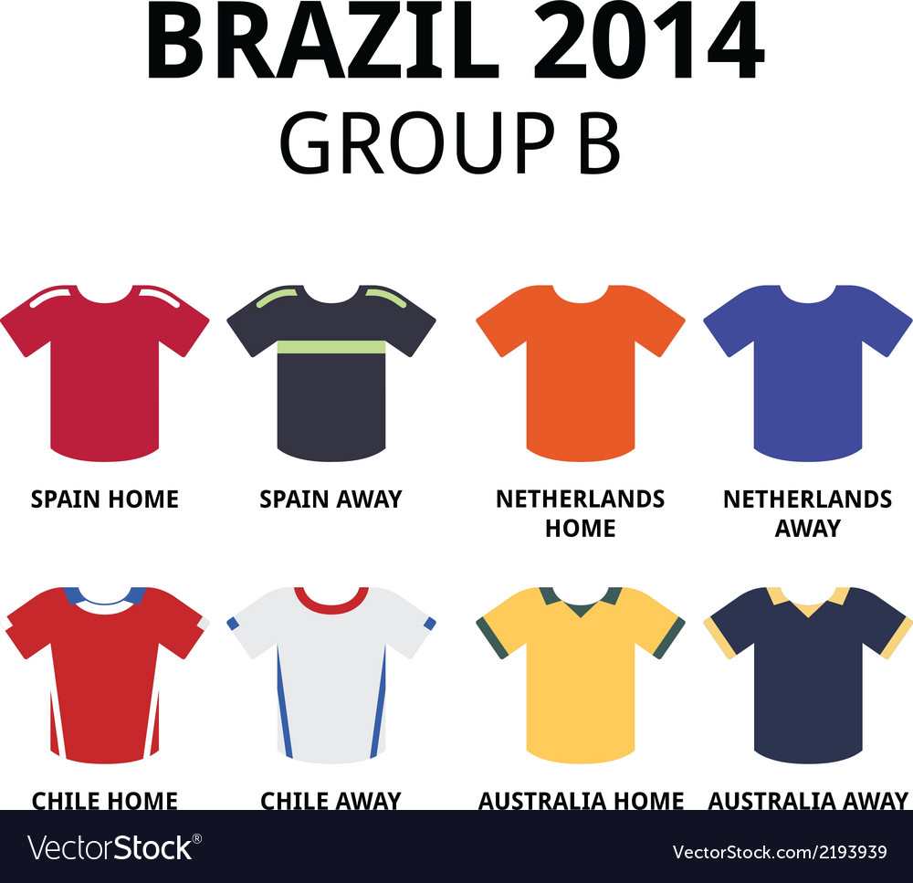 World cup brazil 2014 - group b football jerseys vector | Price: 1 Credit (USD $1)