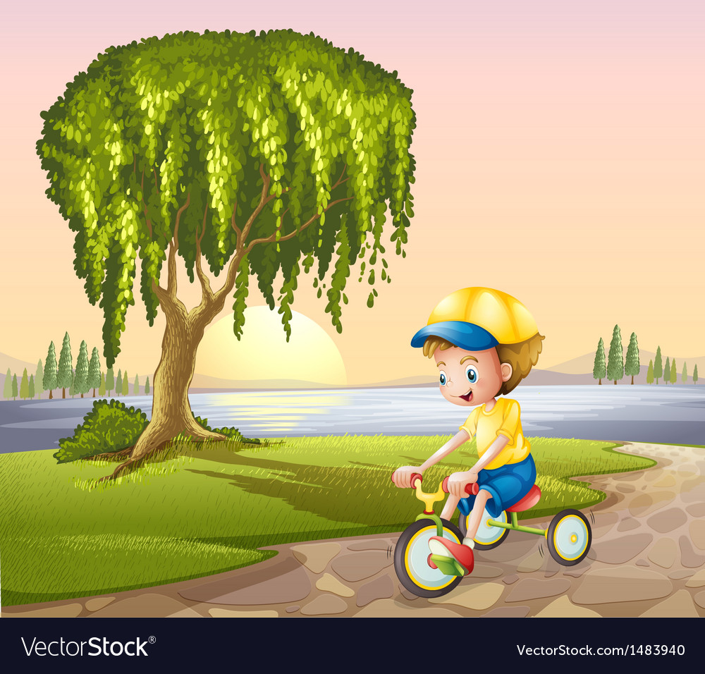 A little boy biking vector | Price: 1 Credit (USD $1)