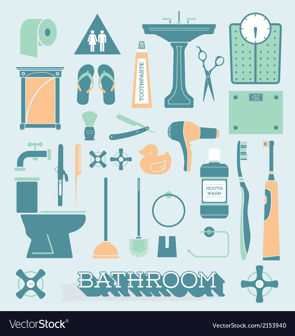 Bathroom icons and silhouettes vector | Price: 1 Credit (USD $1)