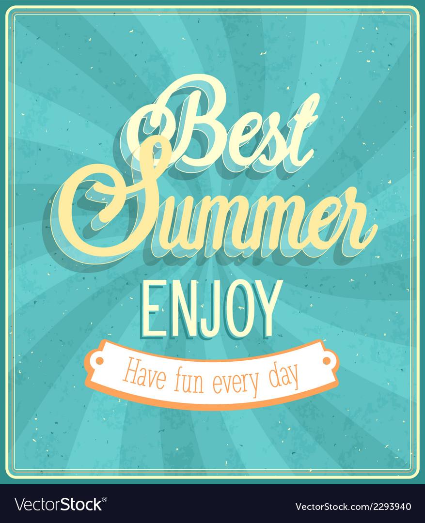 Best summer enjoy typographic design vector | Price: 1 Credit (USD $1)