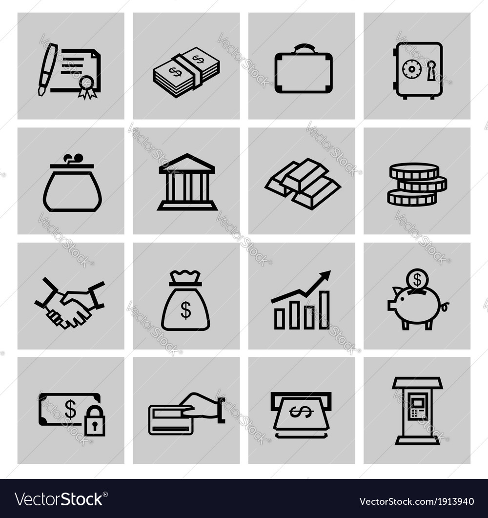 Black business icons vector | Price: 1 Credit (USD $1)