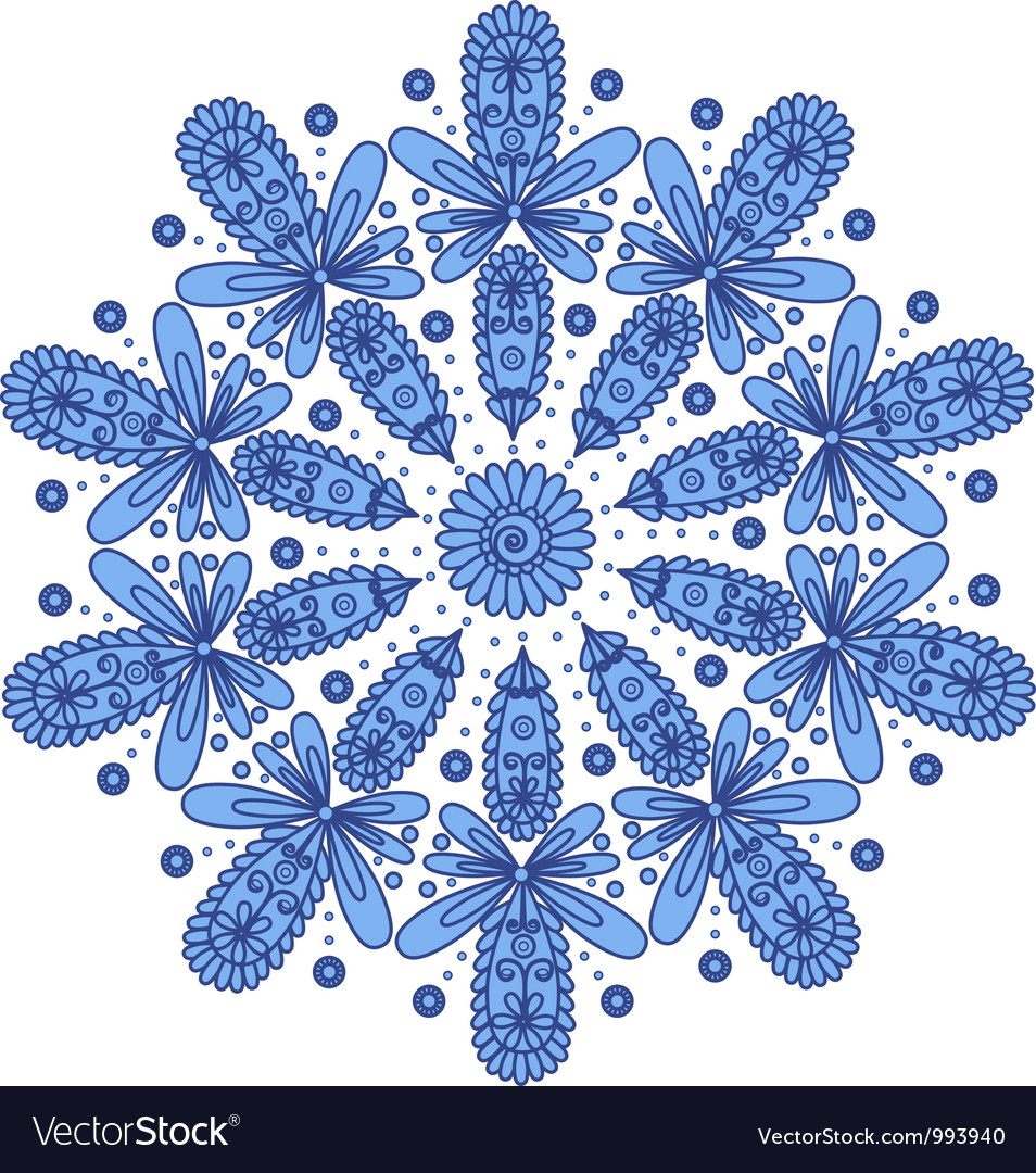 Blue ornamental round lace vector | Price: 1 Credit (USD $1)