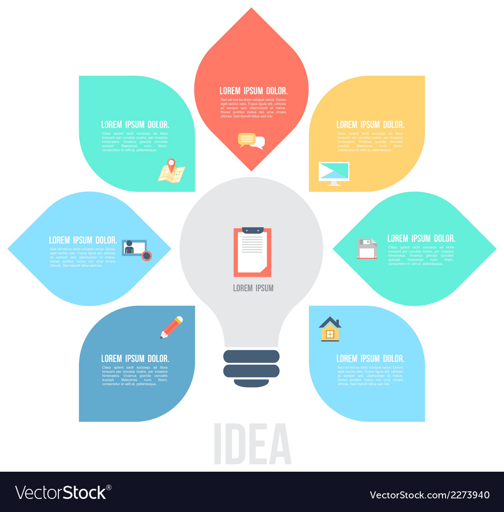 Bulb left idea template with flat icons vector | Price: 1 Credit (USD $1)