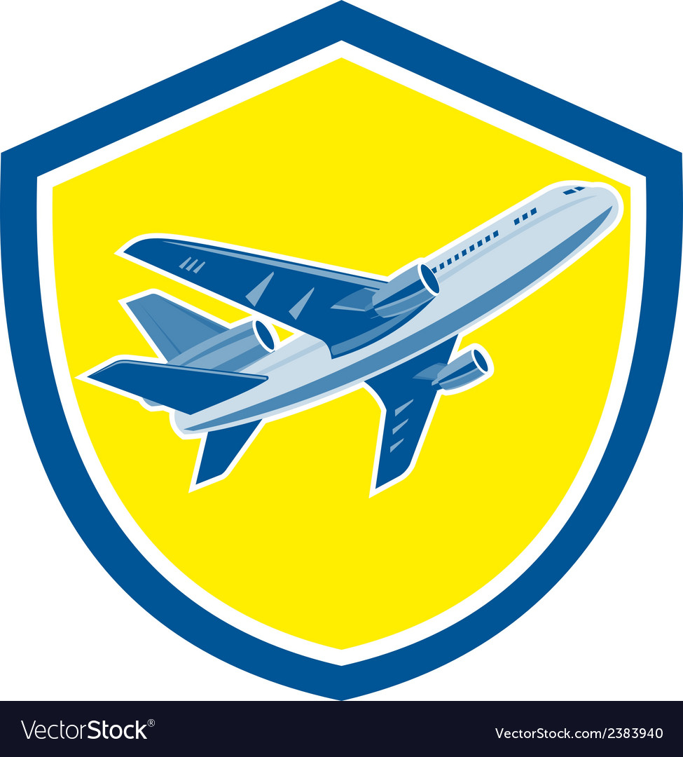 Commercial airplane jet plane airline retro vector | Price: 1 Credit (USD $1)
